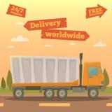 De ladingsdienst Leveringsvrachtwagen wereldwijd Logistische Industrie Stock Foto's