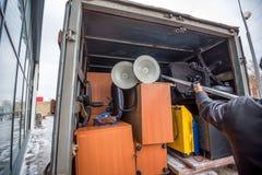 De ladingsvrachtwagen van het bureau bewegende concept nam Stock Foto