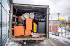 De ladingsvrachtwagen van het bureau bewegende concept nam Royalty-vrije Stock Foto's