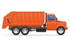 De ladingsvrachtwagen verwijdert huisvuil vectorillustratie Stock Foto's