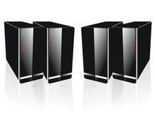 De lado a lado servidor negro cuatro Imágenes de archivo libres de regalías