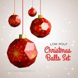 De lage poly vrolijke vectorillustratie van Kerstmisballen Royalty-vrije Stock Foto's