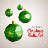 De lage poly vrolijke vectorillustratie van Kerstmisballen Royalty-vrije Stock Fotografie
