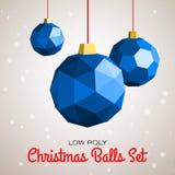 De lage poly vrolijke vectorillustratie van Kerstmisballen Stock Fotografie