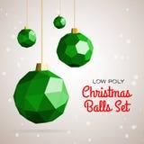De lage poly vrolijke vectorillustratie van Kerstmisballen Stock Afbeelding
