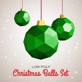 De lage poly vrolijke vectorillustratie van Kerstmisballen Stock Foto