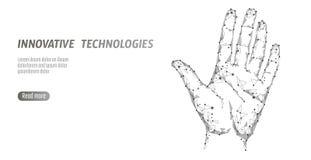 De lage polyveiligheid van het handaftasten cyber De persoonlijke code van identiteitskaart van de identificatievingerafdruk hand Royalty-vrije Stock Foto