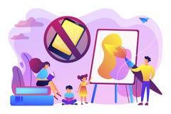 De lage technologie-vectorillustratie van het ouderschapconcept stock illustratie