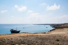 De lagune bij de natuurreservaatkaap Greko, Cyprus Stock Foto