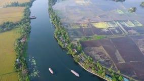 De lagune en de vegetatie in Kerala stock videobeelden