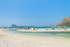 De lagune van Balos Alle schaduwen van blauw en turkoois Stock Fotografie