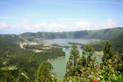 De Lagune van Cidades van Sete - de Azoren Stock Fotografie