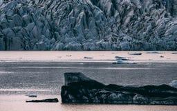 De Lagune van de gletsjer in IJsland jokulsarlon lagune beautfiul gevormde ijsbergen stock foto