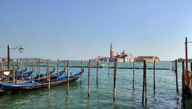 De lagune van Venetië van de gondels Stock Foto's