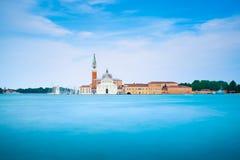 De lagune van Venetië, de kerk van San Giorgio Italië Lange Blootstelling stock foto