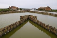 De lagune van Venetië, met tipical oud huis van visser Stock Afbeelding