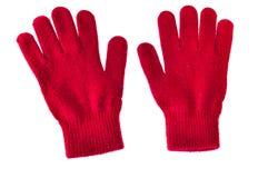 De laine chaud a tricoté les gants rouges d'isolement sur le fond blanc photo stock