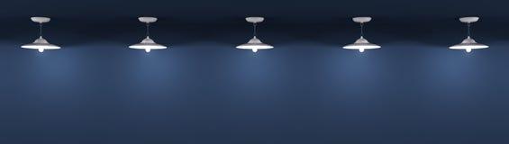 De lampen over de blauwe 3d muurachtergrond geven terug vector illustratie