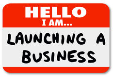 De lancering van een Bedrijfsnaamplaatjesticker New Company Begin Stock Afbeeldingen
