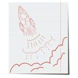 De lancering van hand-drawn op notitieboekjeblad Royalty-vrije Stock Fotografie