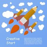 De lancering van het raketschip met potlood wordt gemaakt dat Creativiteit het leren Stock Afbeeldingen