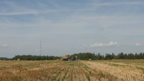 De landbouw, tractor laadt baal van hooi in de aanhangwagen dichtbij landbouwbedrijfboerderij stock video