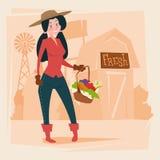 De Landbouw van landbouwerswoman gather harvest Eco vector illustratie