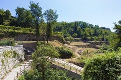 De landbouwbedrijven van het wijnstokniveau van Pianillo-stad van het gebied van Napels royalty-vrije stock foto