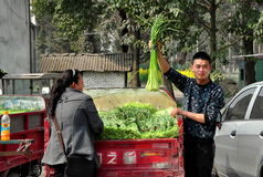 Pengzhou, China: Landbouwers met Groen Knoflook Stock Afbeeldingen