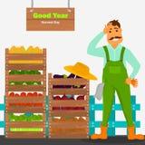 De landbouwer heeft een goede oogst van groentenillustratie voor Web en mobiel ontwerp Royalty-vrije Stock Fotografie
