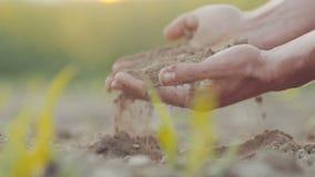 De landbouwer overhandigt het grijpen grond De landbouwachtergrond stock videobeelden