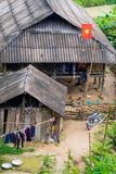 De landbouwer plant rijst op terrasvormig gebied voor nieuw seizoen Stock Foto