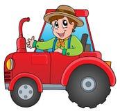 De landbouwer van het beeldverhaal op tractor Stock Foto