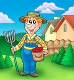De landbouwer van het beeldverhaal op tuin Stock Afbeeldingen