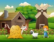 De landbouwers die dieren op het landbouwbedrijf houden vector illustratie