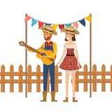 De landbouwers koppelen aan muzikaal instrument stock illustratie