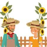 De landbouwers koppelen het spreken aan strohoed vector illustratie