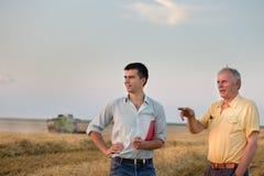 De landbouwers op tarwe oogsten Royalty-vrije Stock Afbeeldingen