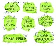 De landbouwers` s markt, lokale landbouwbedrijven de organische, organische landbouwbedrijven, lokale, verse lokale gekweekte opb stock illustratie