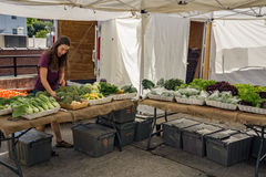 De Landbouwersmarkt van het Grandindorp stock afbeeldingen