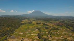 De landbouwgronden en dorp Bali, Indonesië van het berglandschap Royalty-vrije Stock Afbeeldingen