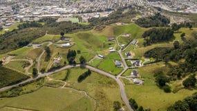 De Landbouwgronden van Nieuw Zeeland in de Vallei Luchtmening van Hutt Royalty-vrije Stock Fotografie