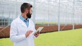 De landbouwingenieur in serre die witte laag dragen die ot tablet computer om broek` s gezondheid te testen en gegevens te analys stock footage
