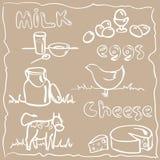 De landbouwproducten van de melk en Royalty-vrije Stock Afbeeldingen