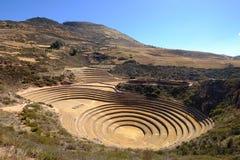 De landbouwterrassen van Incan in Moray stock foto