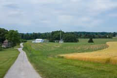 De landelijke Landbouwgrond van Pennsylvania van de Provincie van York van het Land, op een de Zomerdag Stock Fotografie