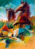 De landelijke landschappen van de verbeelding Stock Foto
