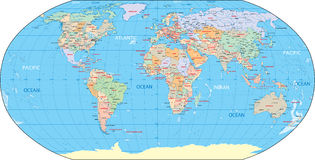 De landen en de kapitalen van de wereld. Royalty-vrije Stock Afbeelding