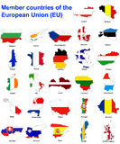 De landen van de EU markeren kaarten stock afbeelding