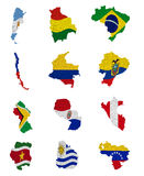 De landen van Zuid-Amerika markeren kaarten Stock Afbeeldingen
